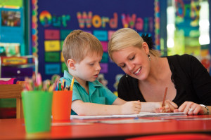Prep teacher and child