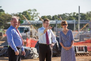 Luke Reed (second from right) MacKillop Catholic College Principal, discusses Secondary School expansion plans with Dr Lee-Ann Perry (right), Executive Director of Queensland Catholic Education Commission, Bill Dixon (left) Executive Director of Cairns Catholic Education Services and Warren Kelly (second from left - obscured) project Construction Manager of Osbourne Construction Solutions.